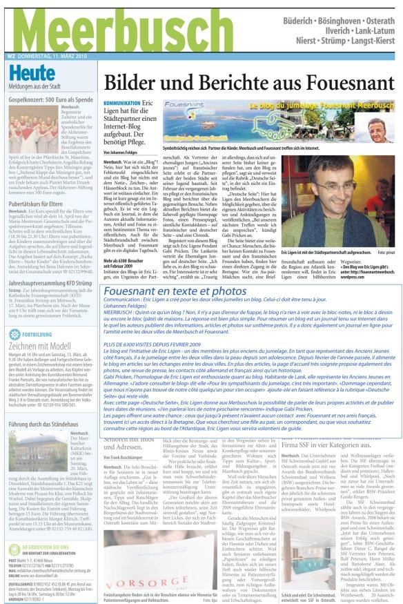 WZ berichtet über den Blog Fouesnant Meerbusch