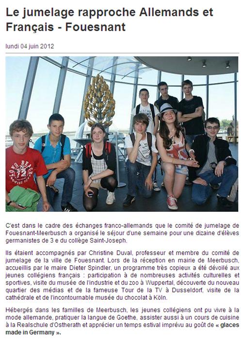 Le Collège St Joseph à Meerbusch - Ouest France du 4 juin 2012