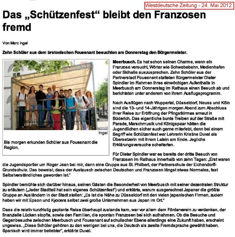 Westdeutsche Zeitung - 24. Mai 2012