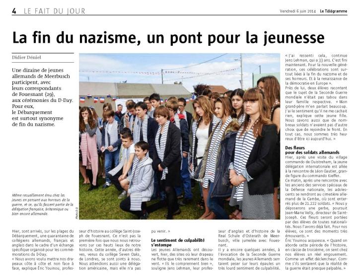 Le bel article de Didier Déniel, reporter au télégramme (et Ancien Jeune)