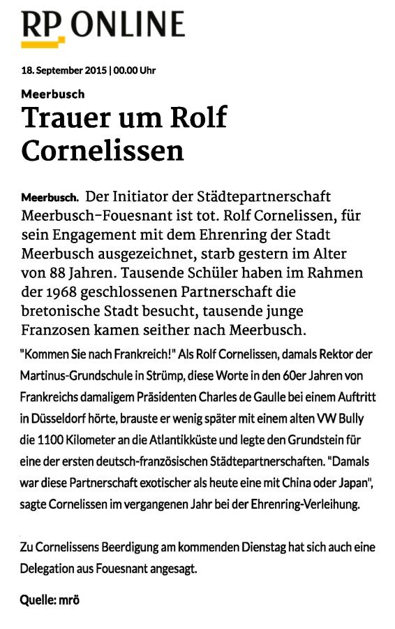 Meerbusch: Trauer um Rolf Cornelissen