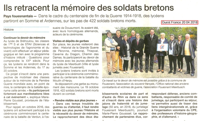 Ouest France 20 avril 2018