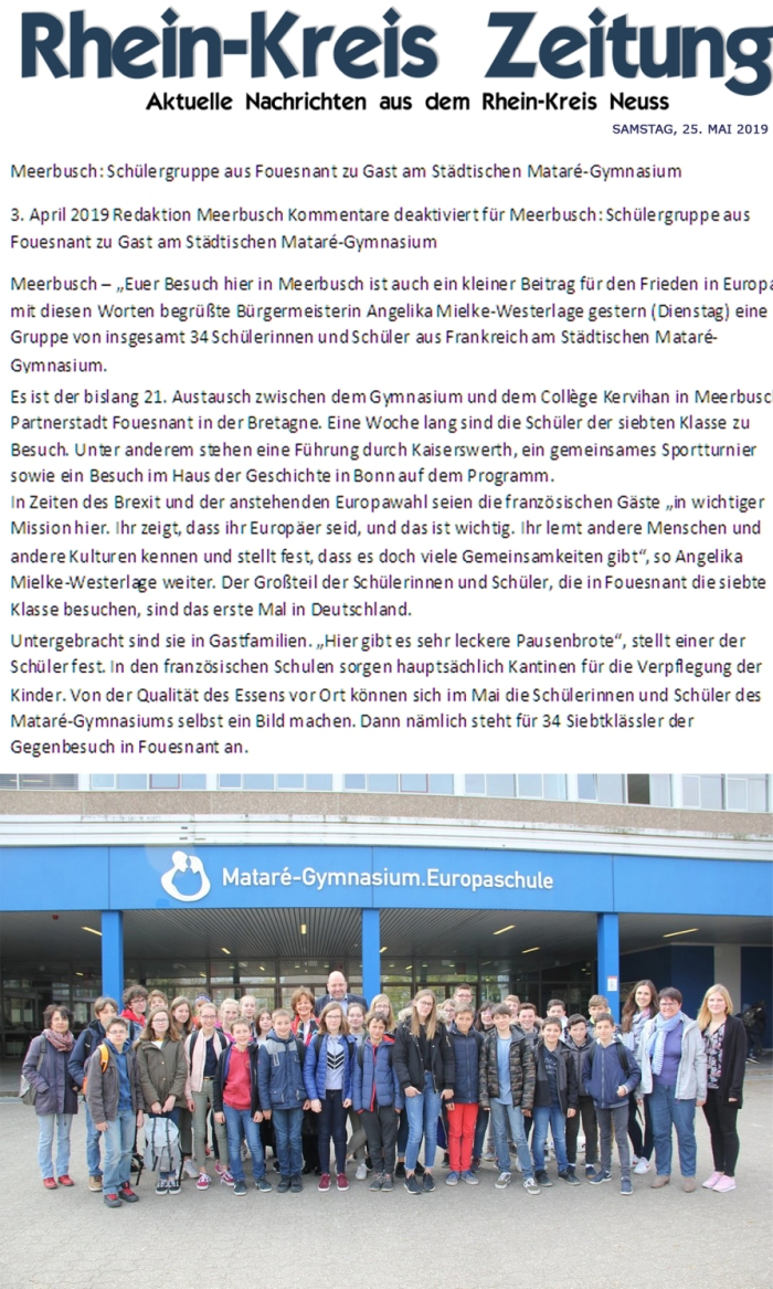 Rhein-Kreis Zeitung, 25 mai 2019